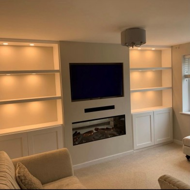Single Sided with Integrated TV, Soundbar, Shelving with recessed lighting and Cupboards