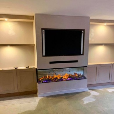 3 Sided Fire with Exposed sides, Cupboards and shelving with recessed lighting